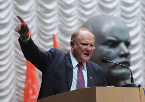 ITAR-TASS 03: MOSCOW, RUSSIA. NOVEMBER 29. Leader of the Communist Party of the Russian Federation Gennady Zyuganov speaks at the 13th congress of the party. (Photo ITAR-TASS / Grigory Sysoyev)